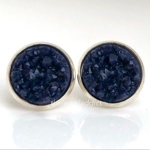 3 for $15🎀navy-black faux druzy studs